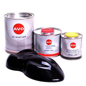 1,75 Liter Set  2K Acryl-Autolack RAL9005 schwarz mit Härter- Verdünnung/E0210