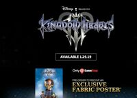 Kingdom Hearts 3 Fabric Poster Exclusive Gamestop Preorder Bonus