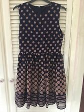 Ladies Brand New Primark Blue With Beige Spots Dress UK Size 12