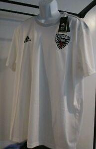 Shirt Team Jersey DC United MLS Soccer NWT White Men's XL Sewn Adidas Aeroready