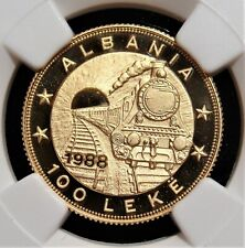 "Albania: gold Proof ""Railroad Anniversary"" 100 Leke 1988 PR70 Ultra Cameo NGC"