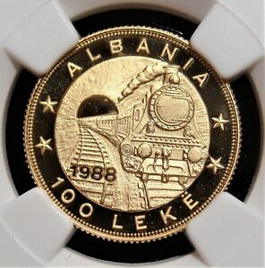 "Albania: gold Proof ""Railroad Anniversary"" 100 Leke 1988 PR70 Ultra Cameo NGC"