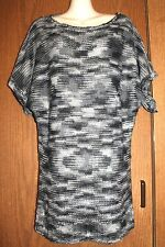 One A Woman Acrylic Black/Gray Chunky Knit Bat-Wing SS Pullover  Sweater Top L