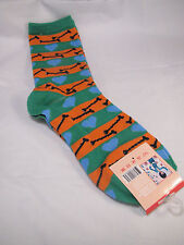 Womens Dog Bone and Hearts Crew Novelty Fashion Socks size 9-11 GREEN ORANGE