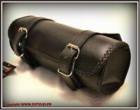 Sacoche de fourche en Cuir Souple Simple Modèle pour moto custom , trike etc...