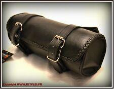 Alforja para horquilla de piel ágil Semplice Modelo motocicleta custom , trike