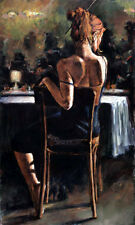Huge Oil painting female portrait young girl - dancer In the night bar canvas