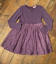 Mini Boden Purple Dress 8-9 Years Jewelled Tulle Skirt Sparkly Top Long Sleeves