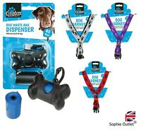 Harness + Dog Poo Bags & Holder Pet Pooper Bag Carrier Bone Travel Dispenser UK