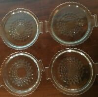 4 Handled Crystal Pressed Glass Dishes