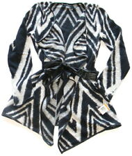 INC Size S Cotton Blend Open Cardigan with Belt Sweater Chevron Black/White