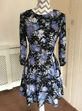 Oasis Black Blue Floral and Grey Spotted Dress, UK Size 10 Immaculate