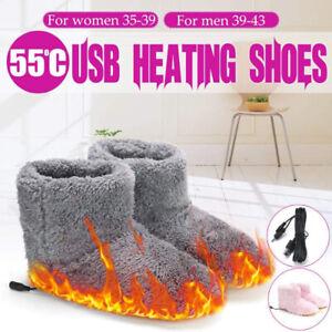 USB Winter Warmer Foot Shoes Plush Warm Electric Slipper Feet Heated Washable AU