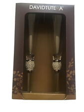 David Tutera Decorative Champagne Flutes w/Rhinestone Accents Gold Rim Set Of 2