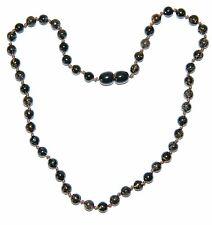Baltic amber baby necklace, dark green round beads 33 cm /13 inch