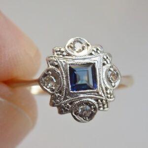 Stunning Vintage Art Deco 18ct Gold Sapphire & Diamond Ring c1930