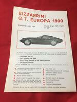 Bizzarrini 1900 GT Europa brochure catalogue prospekt depliant folder RARE