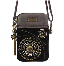 NEW CHALA STARBURST BOHEMIAN BLACK CELL PHONE CROSSBODY PURSE ADJUSTABLE STRAP