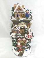 Christmas Tree House 3 Story Santa Workshop Toy Shop Inn Lighted Musical Battery