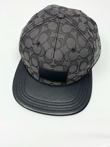 COACH F68861 Signature Flat Brim Cap Cotton Leather Black NWT