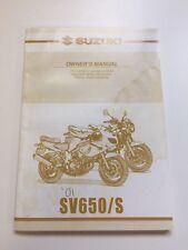 Suzuki. SV650/S. 2001. '01. 01. Owner's Manual. Manual. SV 650s. SV.