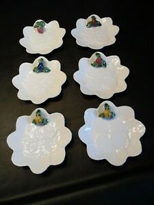 "Bordallo Pinheiro Set of 6 Leaf Majolica Fruit Individual 8"" Cheese Cake Plates"