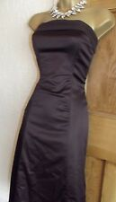 Coast ❤️ Size 10  Brown Satin Strapless Fit Flair Dress Party Evening Summer