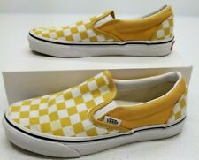 VANS Slip On Yellow/White Checkered Canvas Low Top Shoes Mens Size 5 Womens 6.5