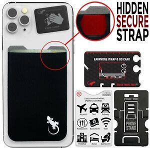 Gecko Phone Wallet - Stick-On Stretchy Lycra Adhesive Card holder - BLACK