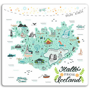 2 x 10cm Iceland Map Vinyl Stickers - Cool Travel Sticker Laptop Luggage #17309