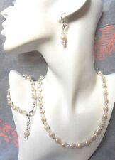 Necklace/Bracelet/Earrings Set Cream Glass Pearl & Crystal Beads - Bride/Wedding