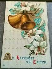 Vintage 1911 All Happiness for Easter Postcard gold bells blue flowers embossed