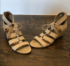 NEW UGG Sandals Size 9 Yasmin Beige Tan Leather Snake Skin Gladiator Tassels