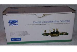 """Zurn-Wilkins Sprinkler Valve 3/4"""" Double Check Backflow Preventer Line Flush"""