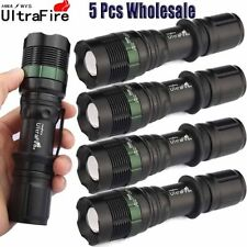 5 X Tactical 3-Mode 50000LM T6 LED 18650 Flashlight Zoom Torch Camping & Hiking