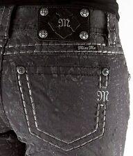 NWT Miss Me Dark Gray Flocked Python Snakeskin Signature Rise Skinny Jeans 24