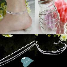 Ankle Bracelet Sandal K3U5 Barefoot N2T6 Foot Jewelry Silver Bead Chain Anklet