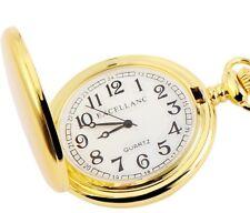 Excellanc Quarz Taschenuhr 47mm Weiss Gold matt 31cm Kettte und Sprungdeckel