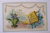 """""""Geburtstag, Buch, Korb, Blumen"""" 1912, Prägekarte ♥"""