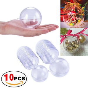 10x Clear Plastic Ball Baubles Sphere Fillable Christmas Ornament Craft Gift Box
