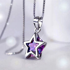 Elegant Crystal Pendant Chain Silver Hollow Tone Star Zircon Necklace  Gifts AU