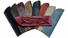 Real leather slim glasses case specs reading sun sleeve pouch Gents Ladies Women