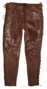 """Unique Men's Leather Jeans/Lace-Up Trousers IN Braun Approx. W35 """"/ L32 """" Size"""