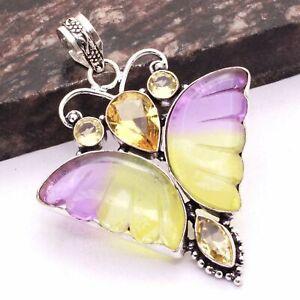 "Bi-Color Tourmaline Citrine Ethnic Gift Handmade Pendant Jewelry 2.6"" AP 83381"