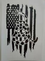 Don't Tread on Me distresses flag black and white Logo Vinyl Decal