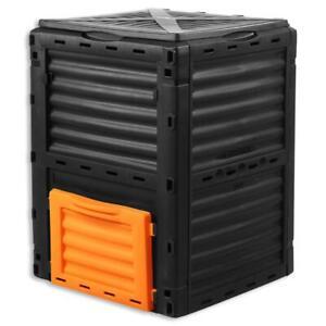 Composteur de jardin 300L FUXTEC bac à compost conteneur de déchets 82x61x61
