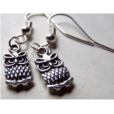 Owl Dangle Earrings Silver Hook Bird Lover Gift Ladies Nature Bird Of Prey