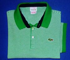Mens LACOSTE Green & White Striped Polo Golf Shirt size 6(L) LACOSTE!