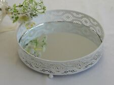 Mirror Glass Vintage White Distressed Metal Plate Drinks Candle Display Tray
