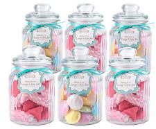GRANDE A COSTE vetro trasparente vintage biscotti/dolci/Craft/Storage Jar/Barattoli-Set di 6
